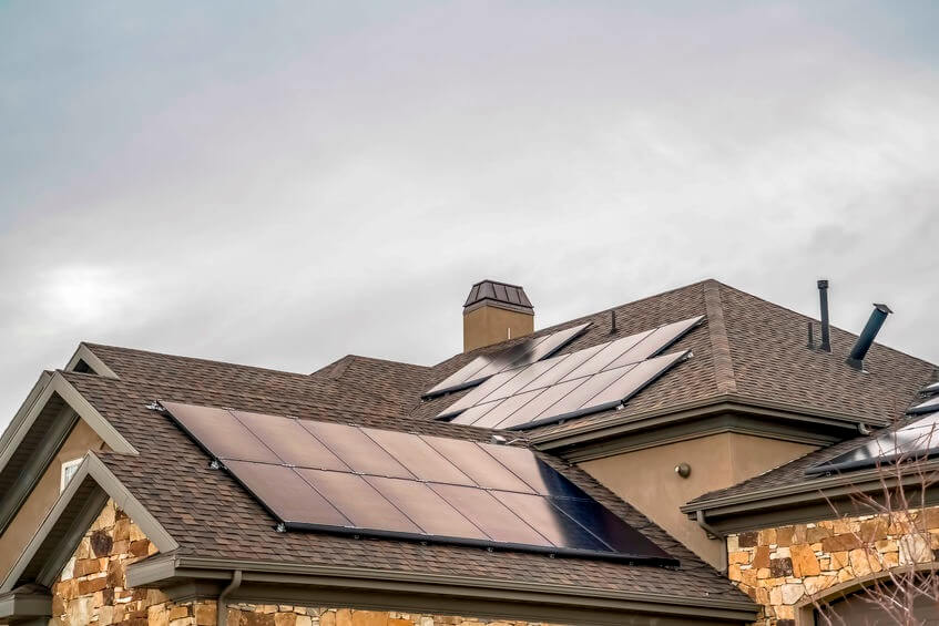 Beautiful house roof with solar panels