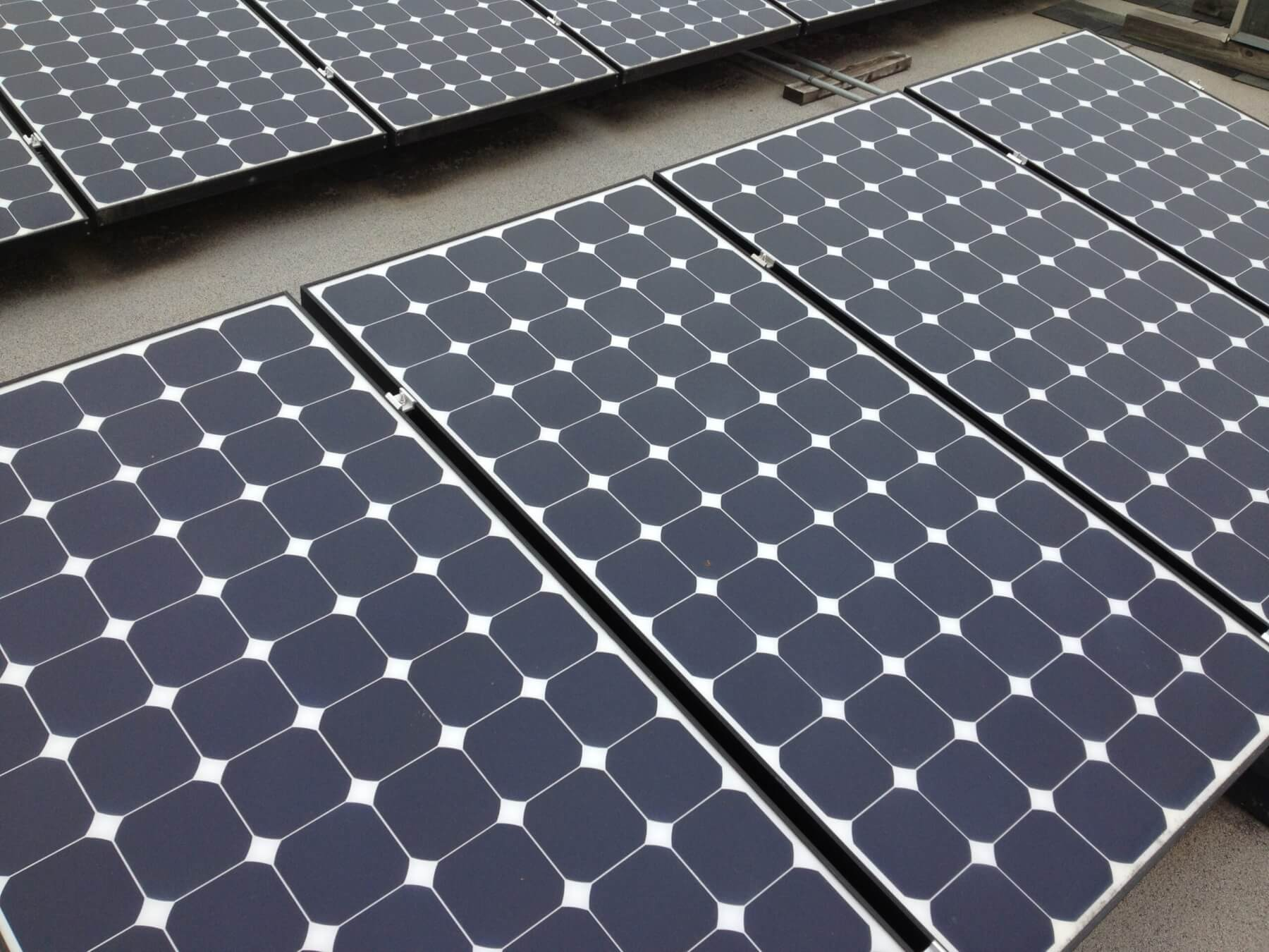 Close-up view of solar panels