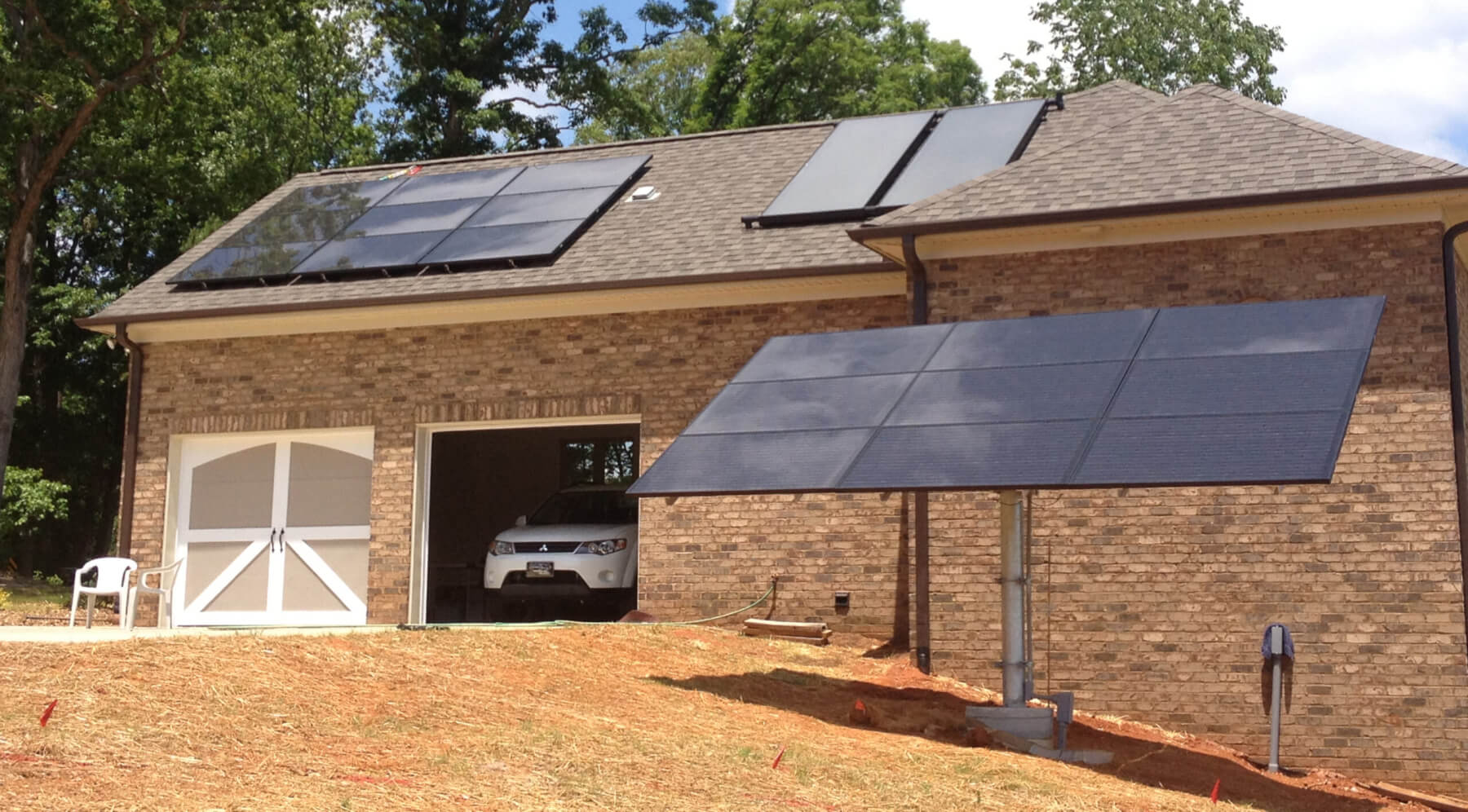 House garage with solar panels on the roof