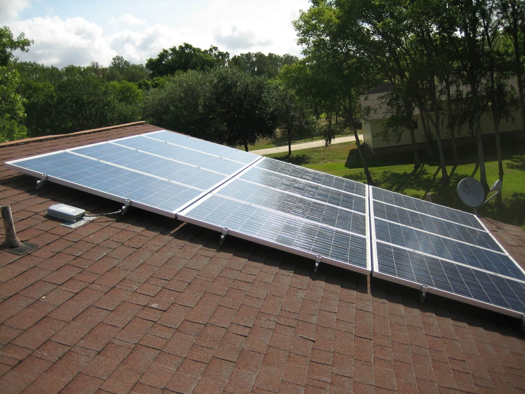 House roof with newly installed solar panels