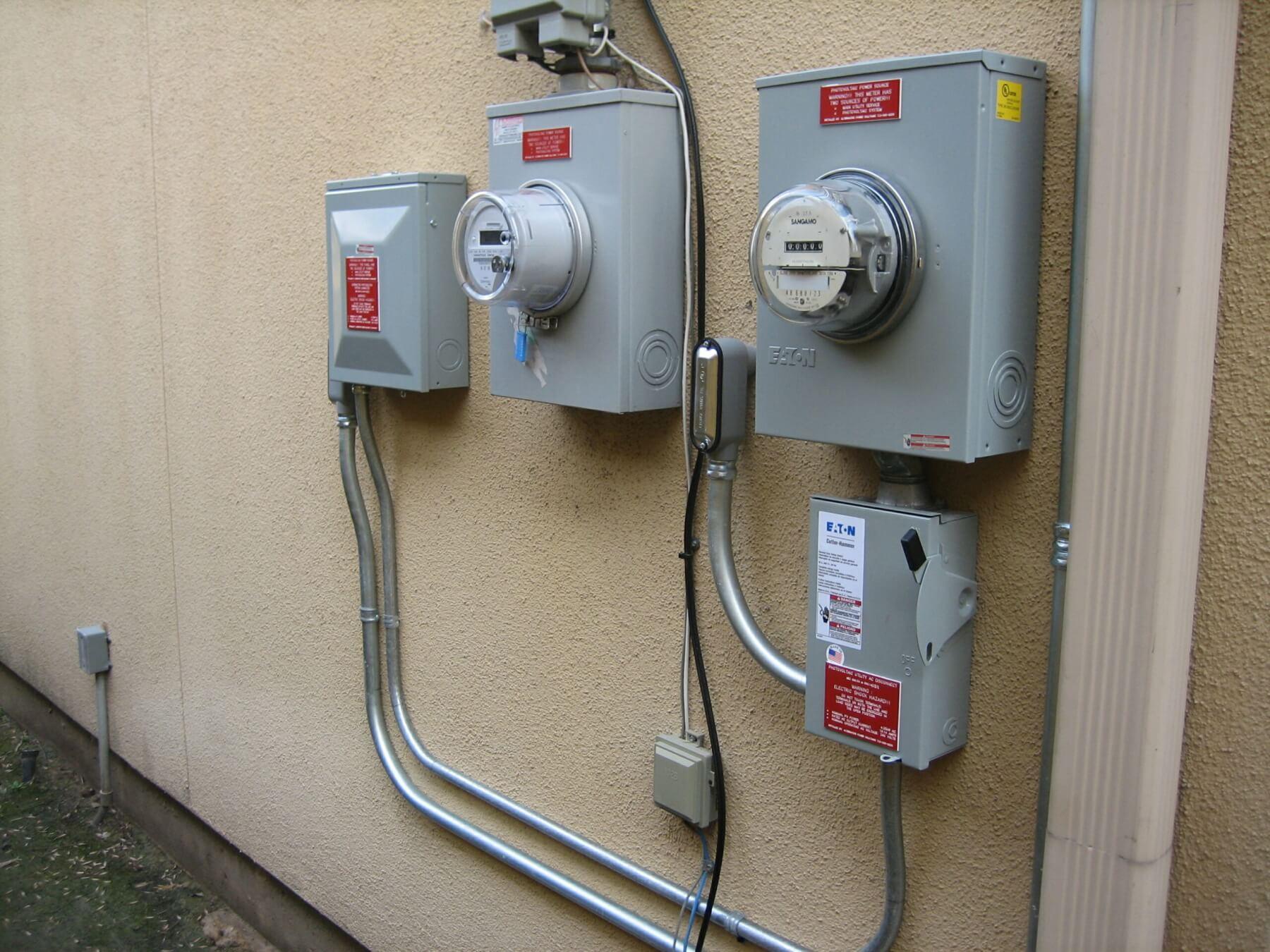 Solar panel utility meters