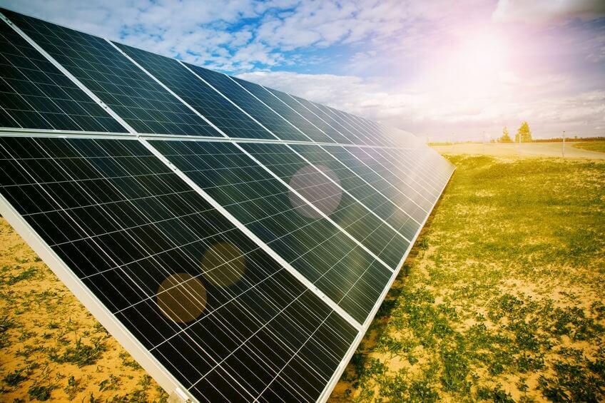 Solar energy panels on a sunny day