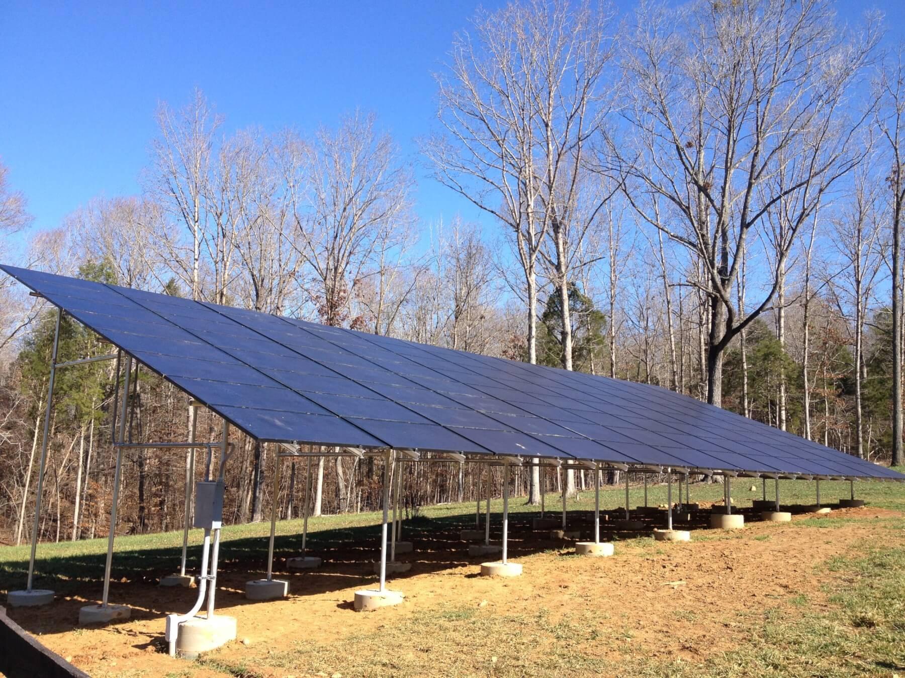 Solar panels under the bright sunlight
