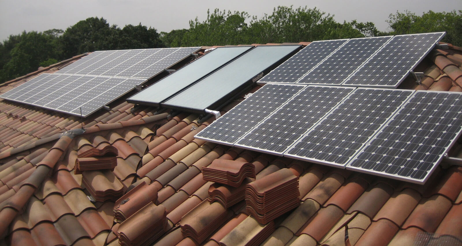 Newly installed solar panels on the roof