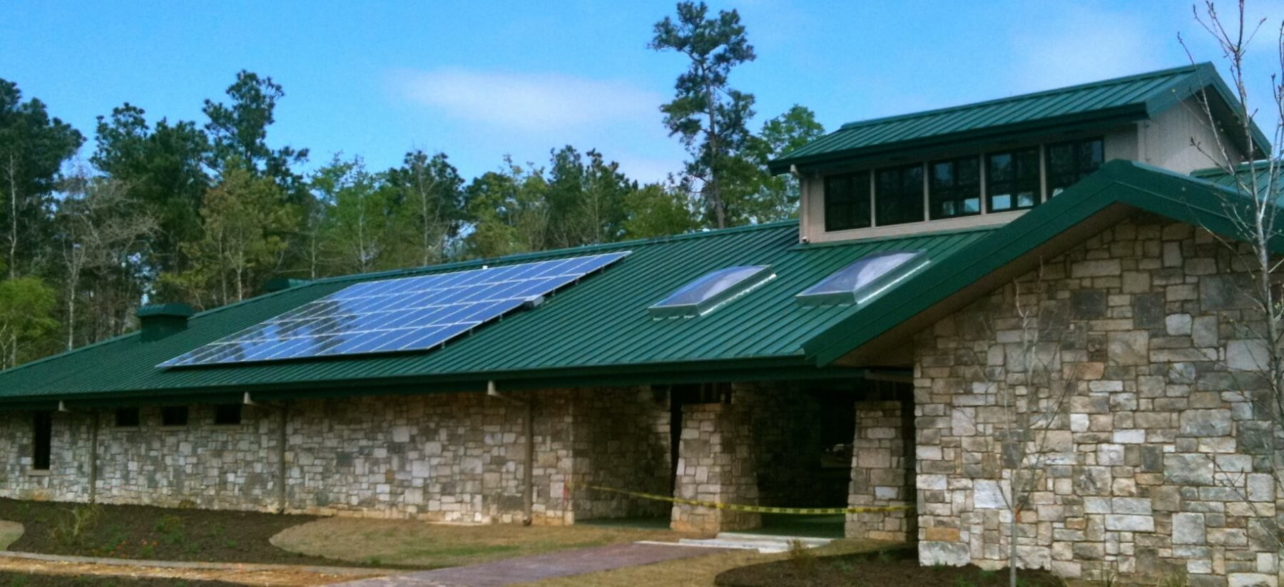 green roof with solar panels installed