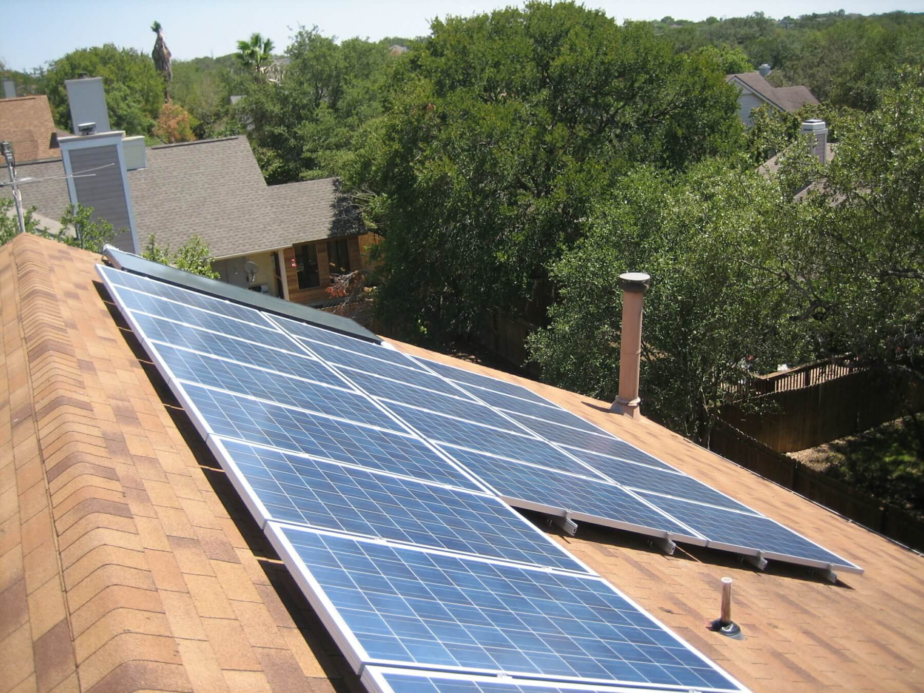 Roof with solar panels installed