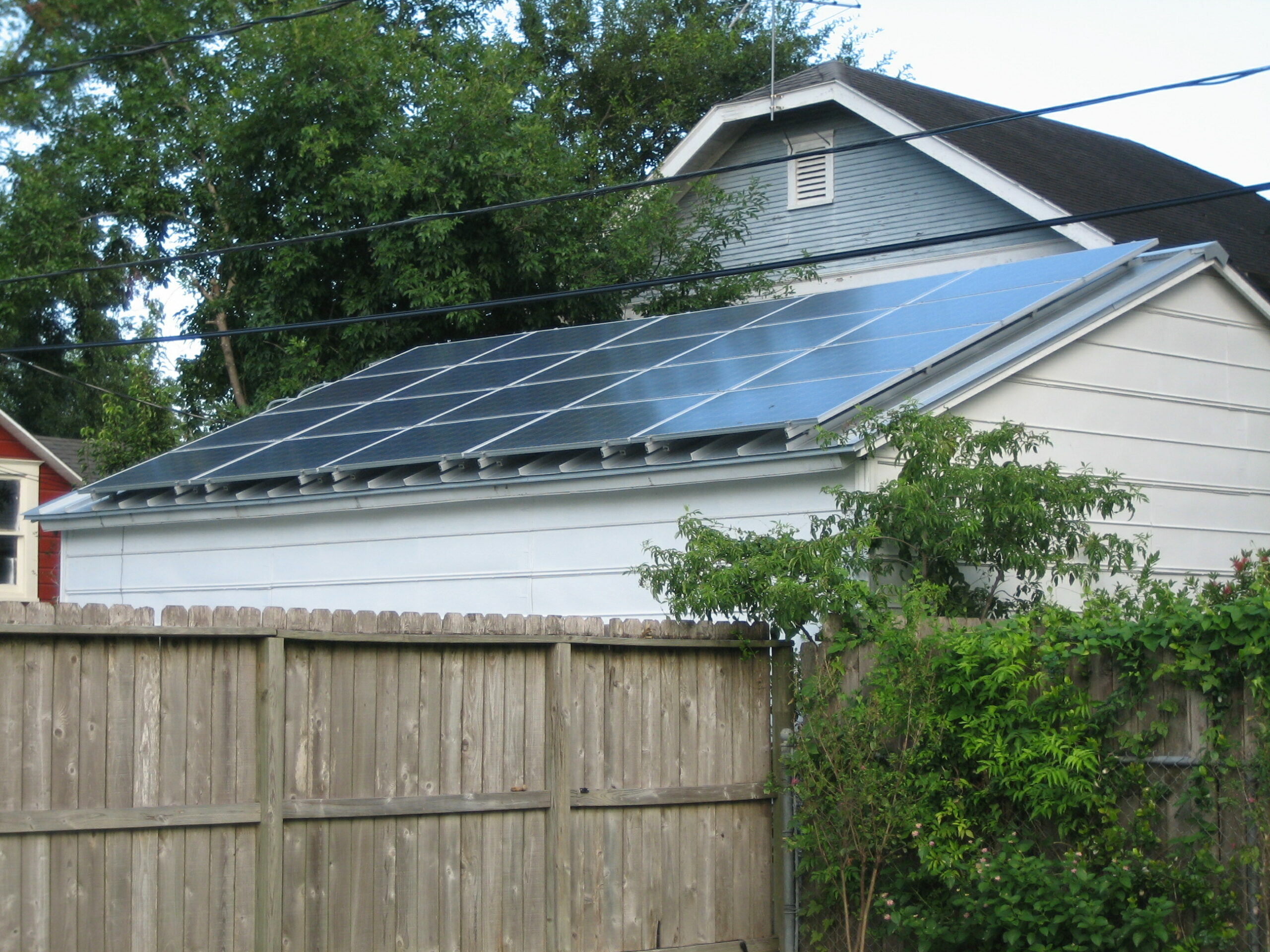 Solar panels installed on the roof in a residential area